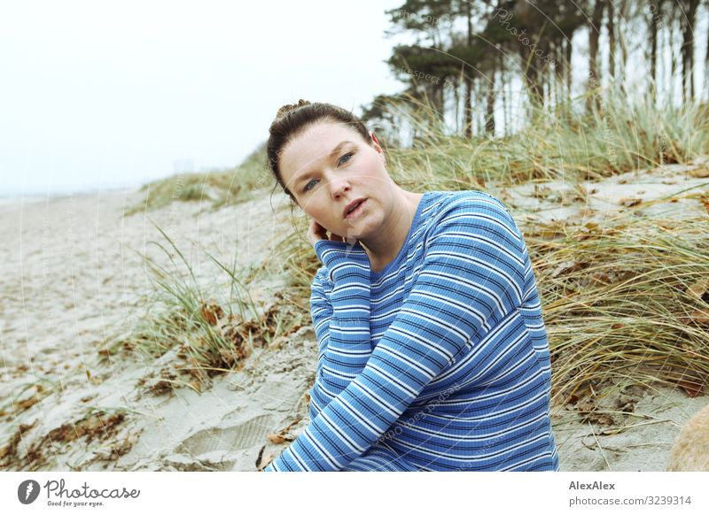 Portrait of a young woman at a beach dune Style Joy Beautiful Life Well-being Beach Young woman Youth (Young adults) Adults 30 - 45 years Nature Landscape
