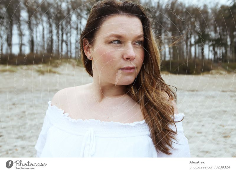 Portrait of a young woman in front of a beach dune Elegant Joy Beautiful Life Well-being Trip Young woman Youth (Young adults) Adults 30 - 45 years Landscape