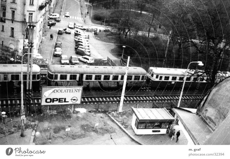 tram Prague Tram Transport Opel light rail Black & white photo