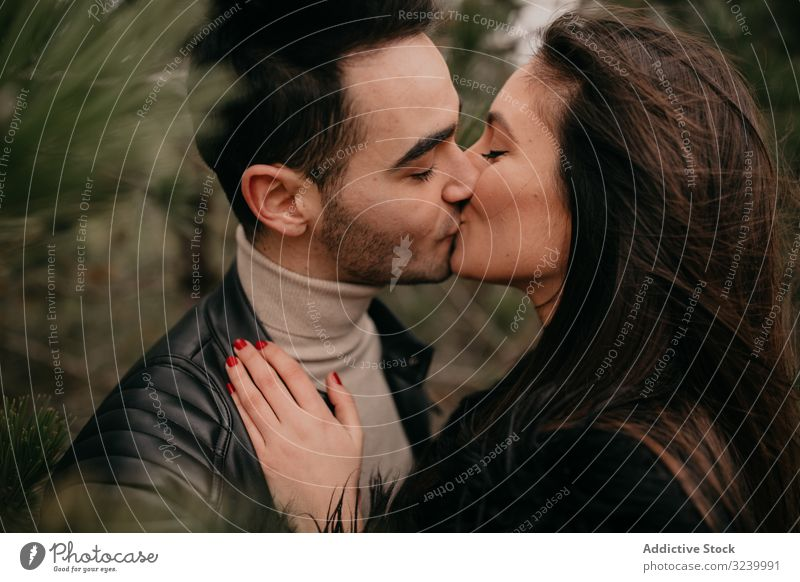 Happy couple hugging among pine forest coniferous love date happy passion glad relationship romance intimate smile pleasure caress embrace enjoy gentle