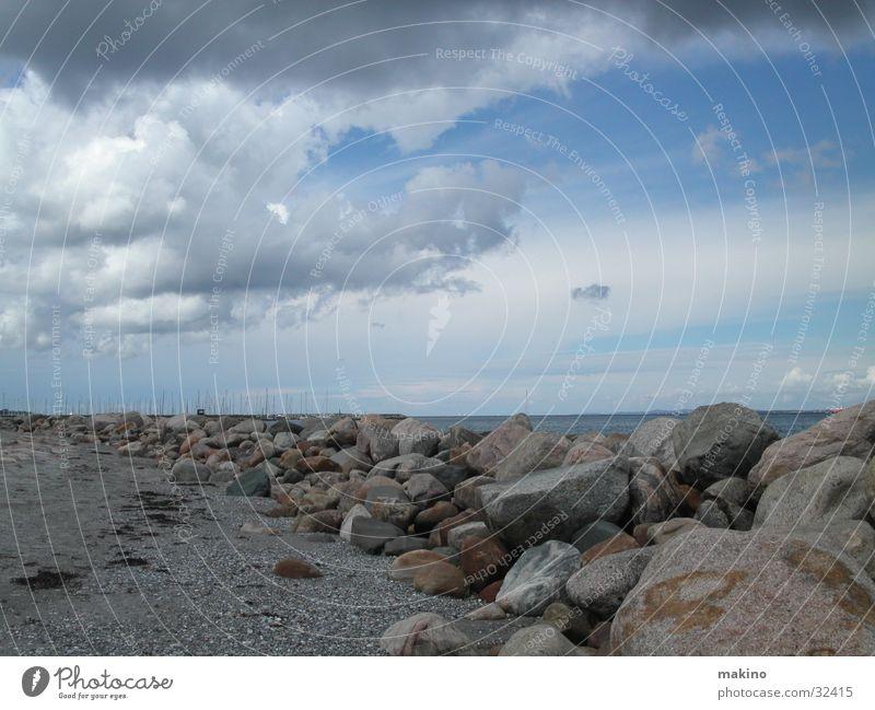 Sky Ocean Blue Beach Clouds Stone Bird