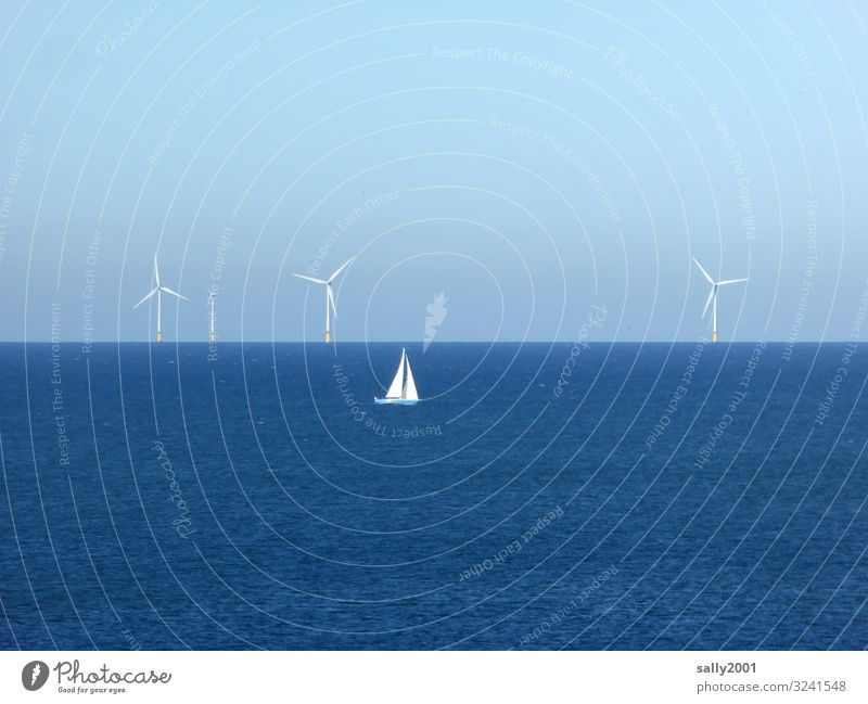 The power of the wind... Energy industry Renewable energy Wind energy plant Beautiful weather North Sea Ocean Navigation Sailing ship Rotate Relaxation Elegant