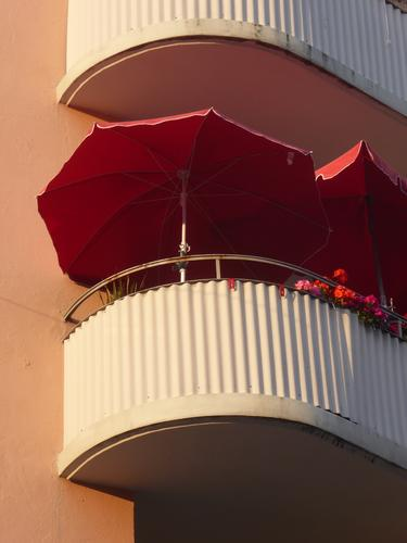Balconies... House (Residential Structure) Facade Balcony Relaxation Living or residing Red Safety (feeling of) Serene Calm Orderliness Leisure and hobbies
