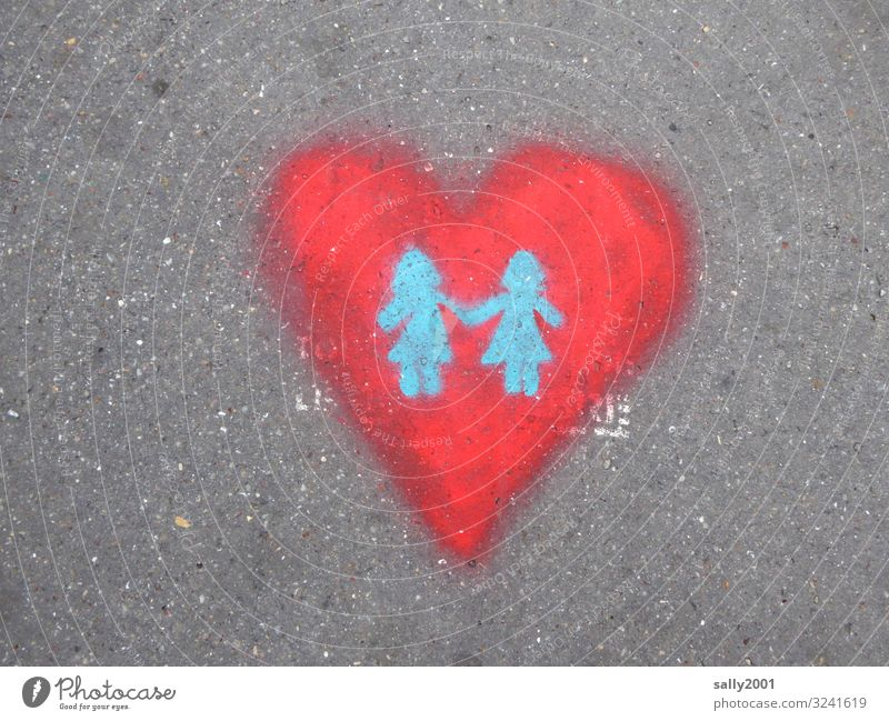 Show of love... Love Heart Street graffiti girl Painted lesbian Red LGBT hold hands Romance Lovers Sign Related Relationship Sexuality Trust Together Homosexual