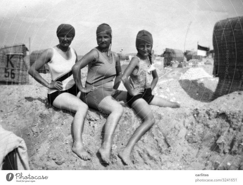 Three ladies Baltic Sea Beach Sandcastle Beach chair Naiad Woman Swimsuit Vacation & Travel Summer Bathing cap good old time Posture Memory