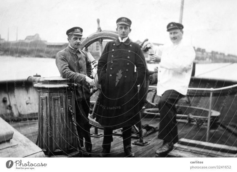 Three gentlemen Man Captain Watercraft Oar Uniform good old time Past Pride Posture Memory