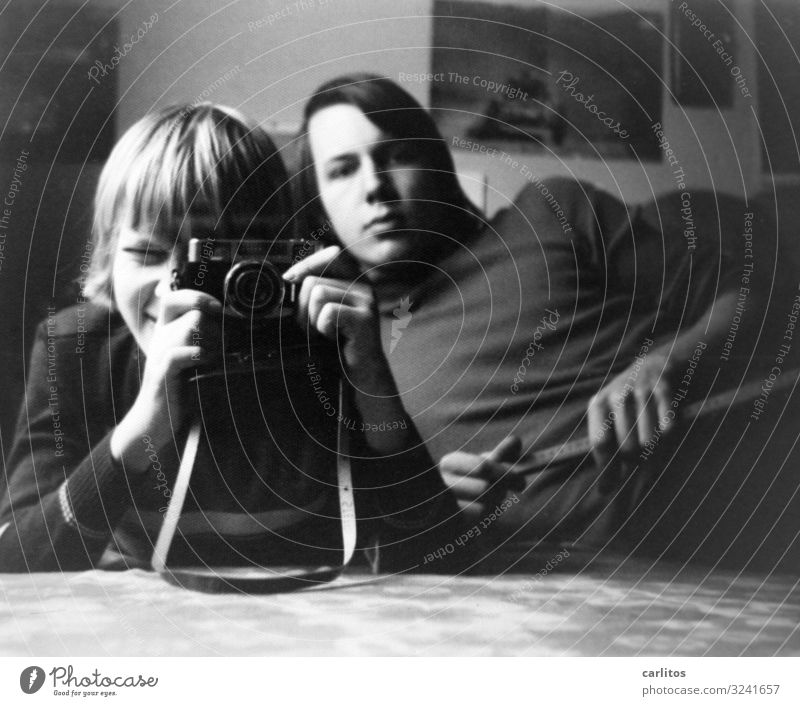 Selfie in the 70s Leisure and hobbies Camera Brother Youth (Young adults) Long-haired Dream Seventies any hair Black & white photo Experimental
