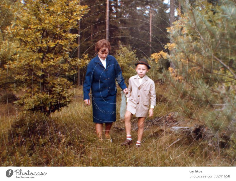 Child Forest Together To go for a walk Mother Coat Sixties Affection Son Costume Heathland Embarrassing Striped socks Economic miracle