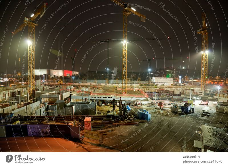 Construction site at night Evening Train station Building lot Berlin Dark large construction site Sky Heaven Light Deserted Night Floodlight Schöneberg