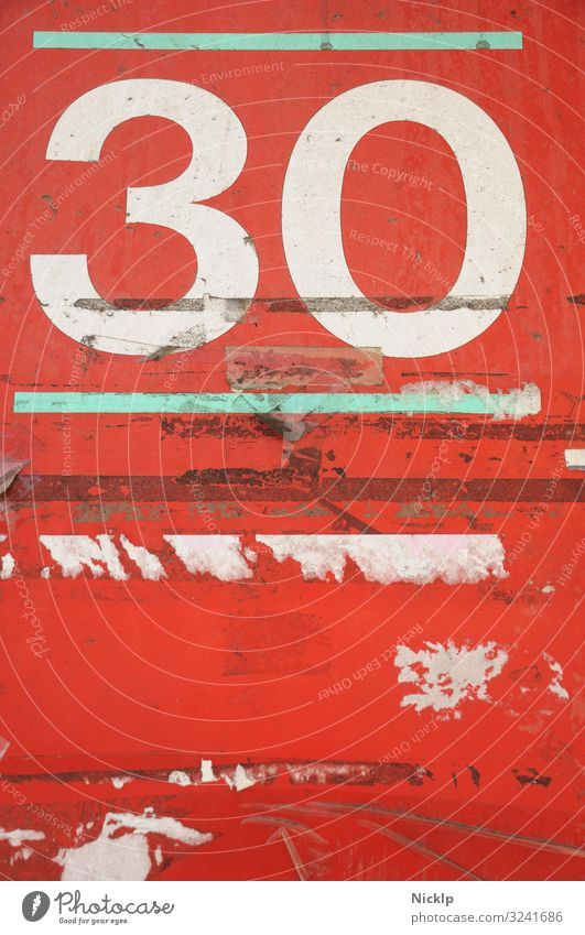 Number 30 - Thirty - Texture - Texture - red - white - turquoise Party Birthday Jubilee Art Sign Characters Digits and numbers Ornament Graffiti Dirty