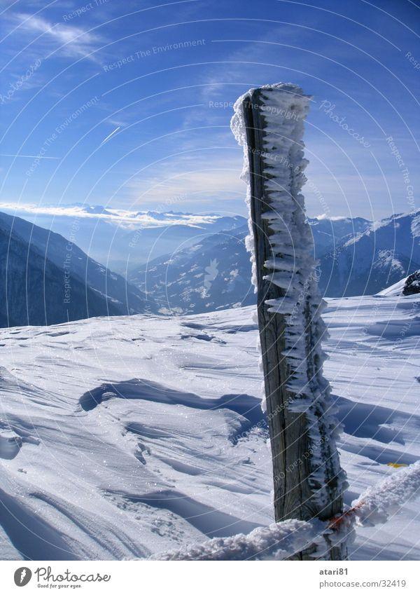 Sky Blue Winter Cold Snow Ice Fence Crystal structure Icicle