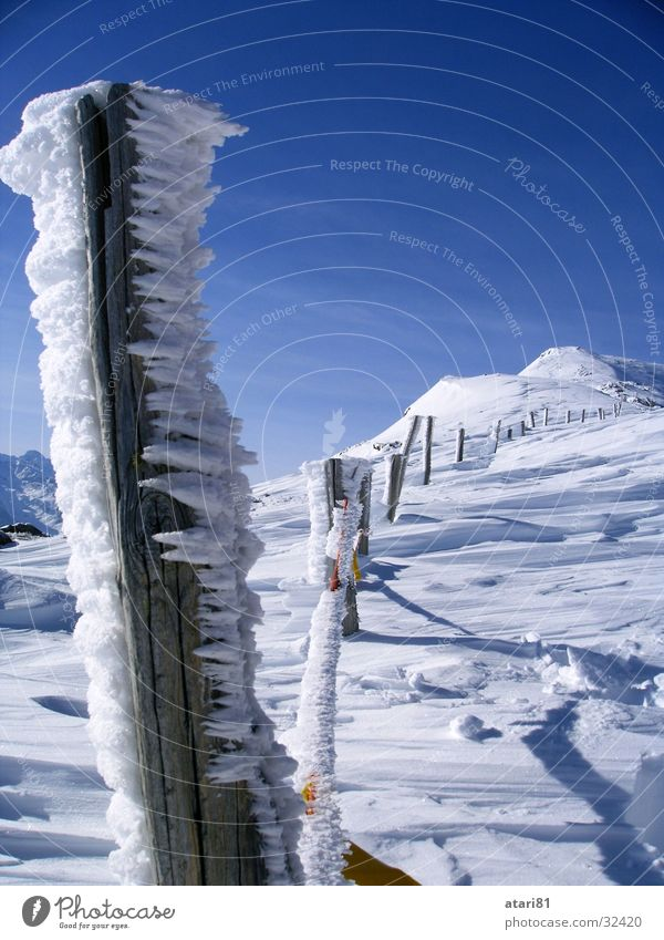 beautiful fence Cold Fence Winter Snow Ice Icicle Crystal structure Sky Blue