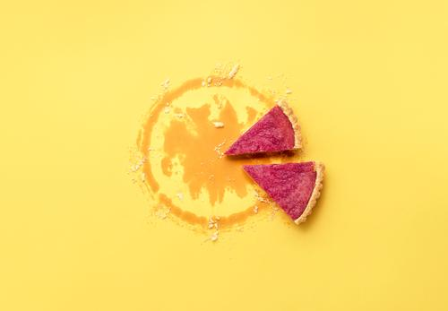 Two pie slices and crust crumbs. Cranberry pie pieces Dessert Candy Eating Winter Thanksgiving Christmas & Advent New Year's Eve Autumn Yellow Pink Tradition