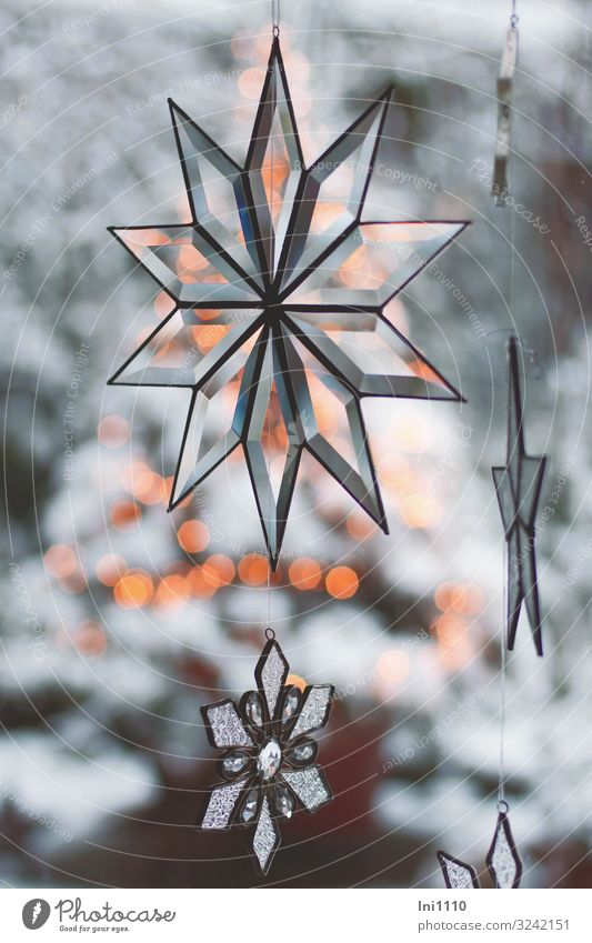 Stars made of glass Glass Blue Yellow Gray Black White Star (Symbol) Ground down Reflection Christmas & Advent Point of light Snowscape Hang Window Decoration
