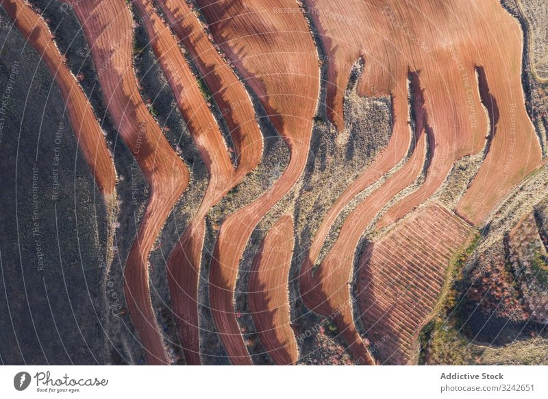 Dry terraces from above horticulture natural dry season mountain aerial agricultural landscape environment nature harvest farming ecology agriculture valley