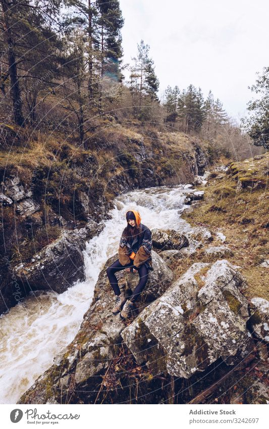 Woman gazing at fast mountain river in forest woman gaze torrent sitting evergreen jacket cold autumn tree travel adventure nature hiking landscape tourism