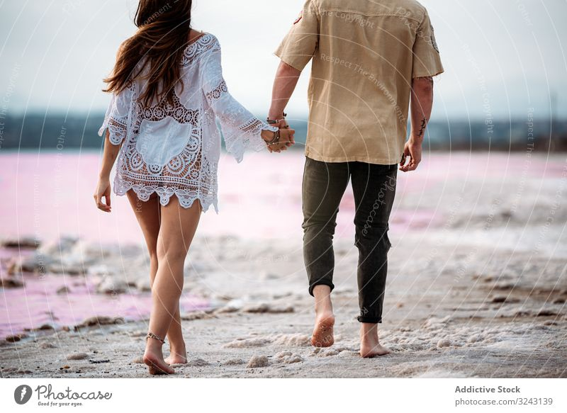 back view of adorable couple walking on an amazing beach with pink water blue sky lifestyle Torrevieja holding hands sunny love relationship brine paradise