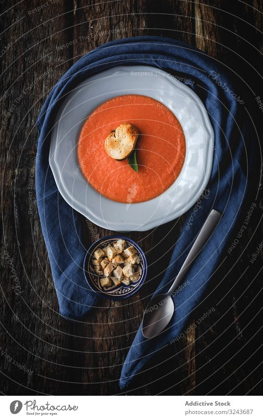 Homemade typical Spanish gazpacho. Tomato soup tomato vegetarian vegetables Gazpacho Salmorejo food red healthy healthy food bowl detox vegan gourmet cucumber
