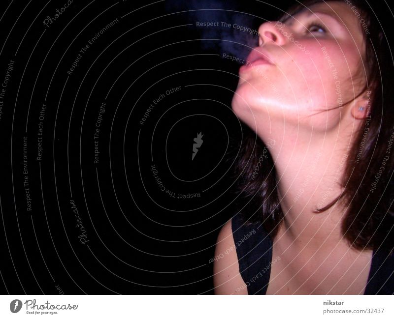Woman Face Dark Smoking Smoke Cigarette Blow