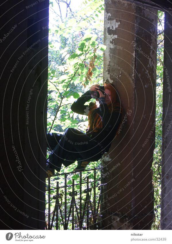 Woman Girl Tree Green Plant Black Dark Garden Broken Camera Derelict Ruin Hollow Handrail Column