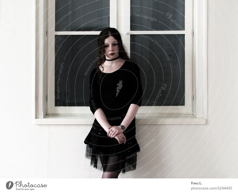 in front of window Human being Feminine Young woman Youth (Young adults) 1 13 - 18 years Museum Skirt Jewellery Brunette Curl Stand Wait Esthetic Beautiful