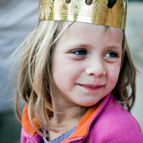 Fairy Tale Little Queen Feminine Girl 1 Human being 3 - 8 years Child Infancy Jacket Crown Blonde Long-haired Observe Looking Wait Beautiful Happy Contentment