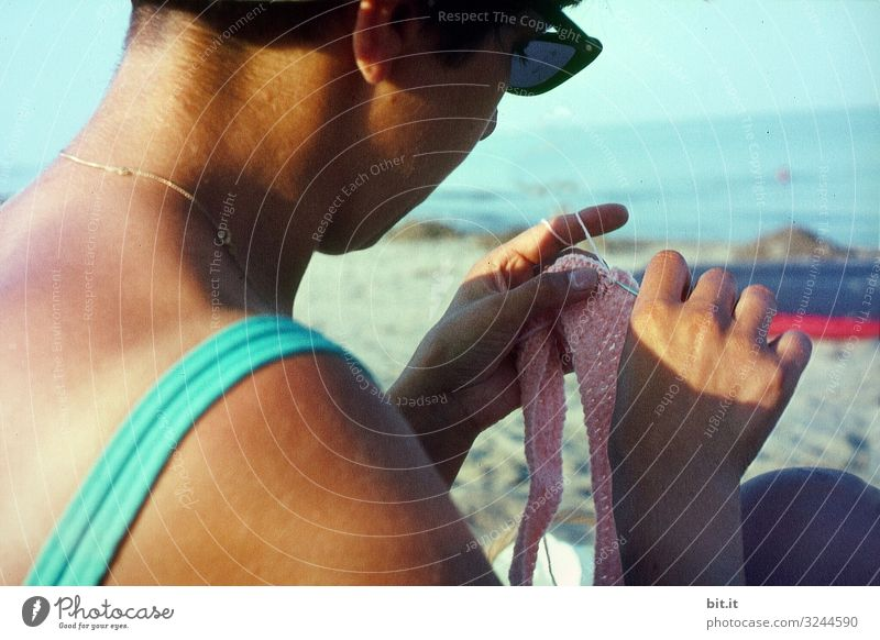 Woman crocheting on the beach. Relaxation Leisure and hobbies Handcrafts Vacation & Travel Tourism Summer Summer vacation Beach Ocean Human being Feminine