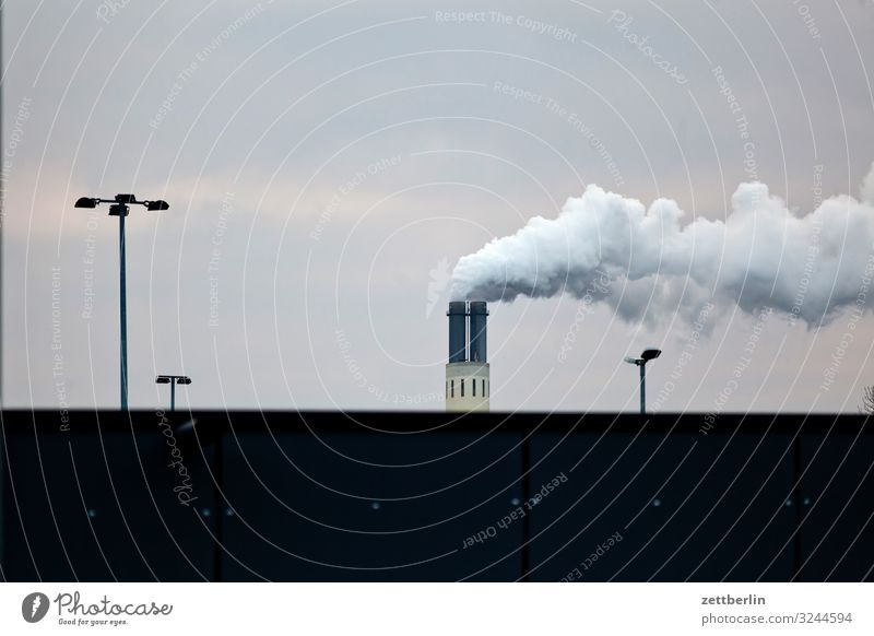 power plant Chimney Smoke Exhaust gas Steam Environmental protection Environmental pollution Carbon dioxide Factory Industry Sky Heaven Berlin Fog Haze Autumn