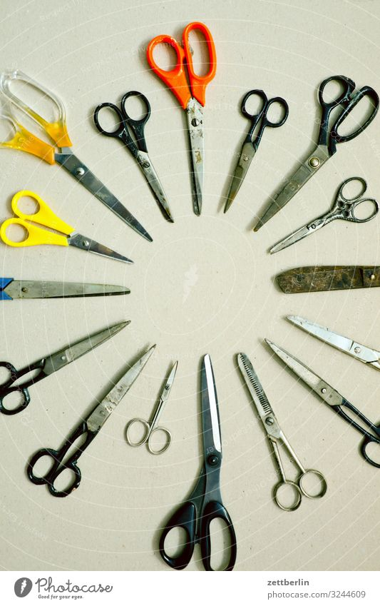 clippers Selection Handicraft mass Crowd of people Scissors Cut Cutting tool Desk Divide Many Tool Things Deserted Difference Circle Round Formation