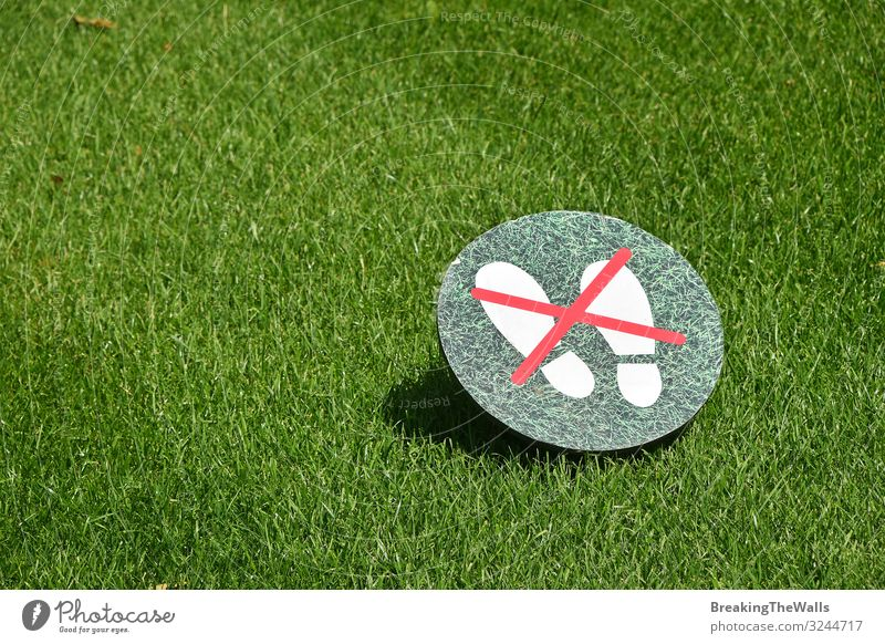 Keep off the grass warning sign over green lawn Culture Environment Nature Plant Spring Summer Beautiful weather Grass Garden Park Sign Signage Warning sign