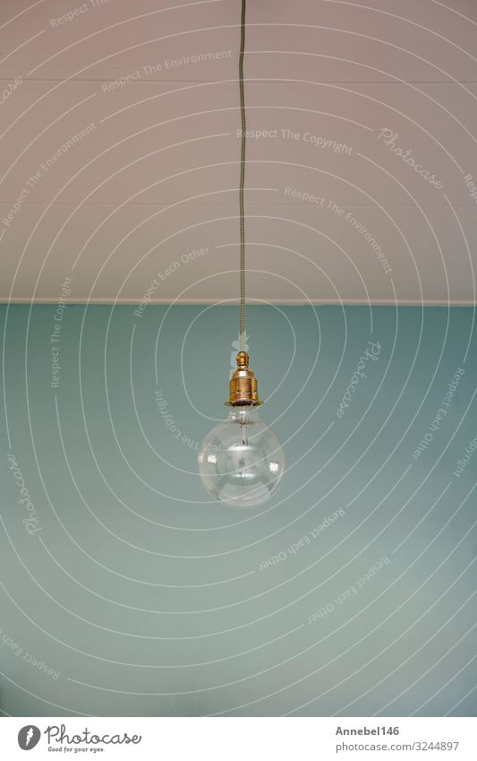 hanging light bulb blue pastel background. Style Design Decoration Lamp Business Technology Art Fashion Old Simple Bright Modern Retro Blue Black White Energy