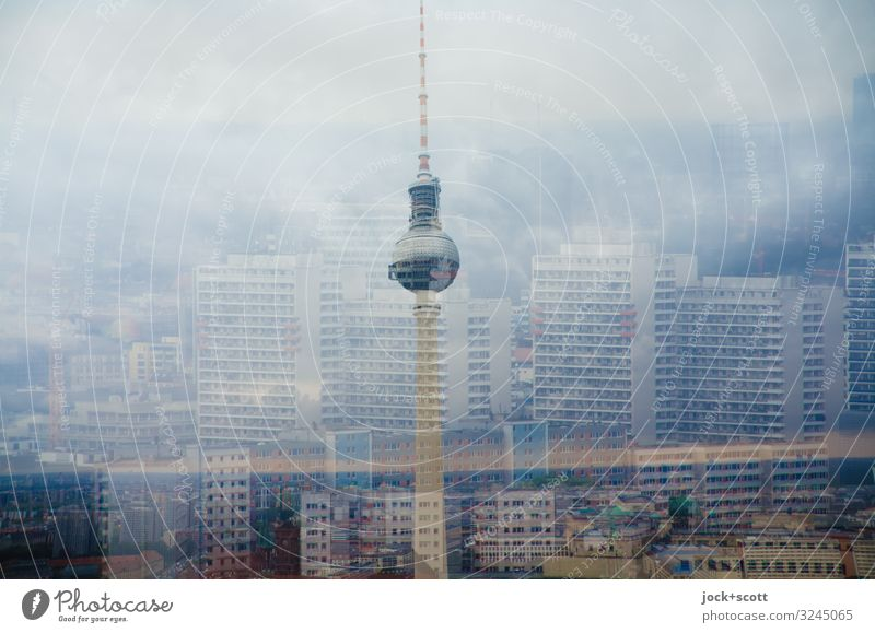 Heavenly Kingdom Berlin Mitte Sky Climate change Fog Downtown Berlin Tourist Attraction Landmark Berlin TV Tower Famousness Center point Surrealism Environment