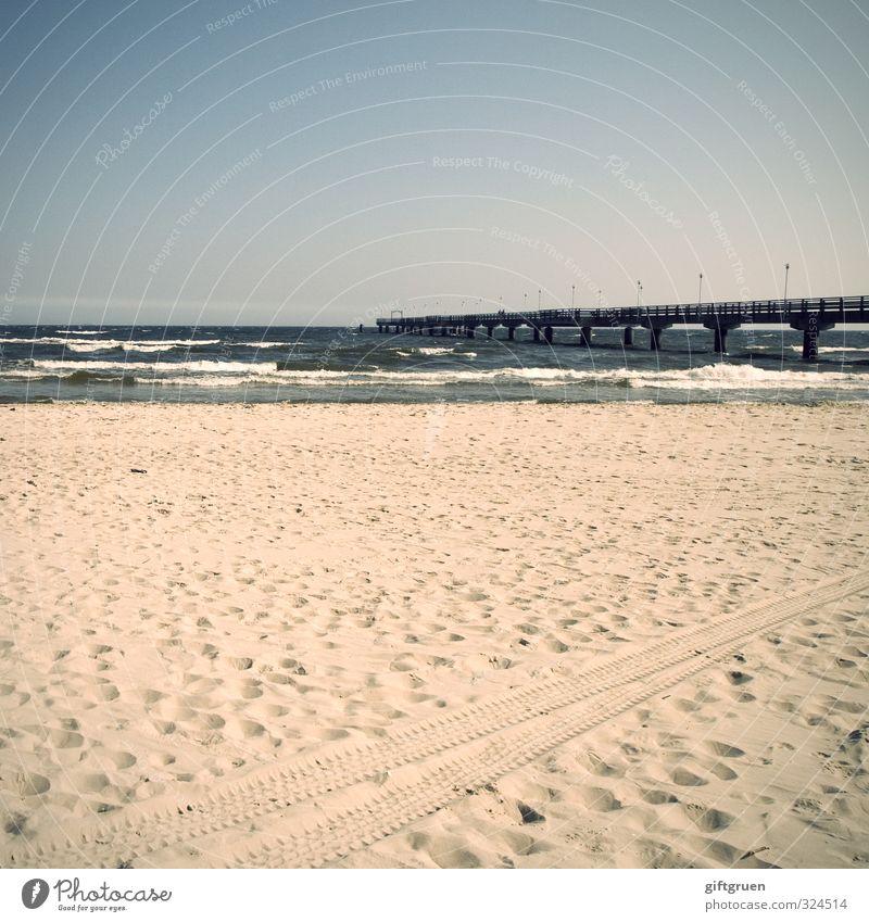 beach marks Elements Sand Water Sky Cloudless sky Horizon Beautiful weather Waves Coast Beach Baltic Sea Bridge Joy Sea bridge Ahlbeck Usedom Germany Skid marks