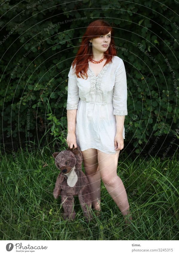 Shakes with a bear Feminine Woman Adults 1 Human being Meadow Forest Dress Jewellery Red-haired Long-haired Teddy bear Toys Observe To hold on Looking Stand