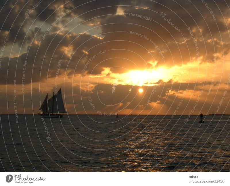 Sunset Sailboat Ocean Clouds Evening