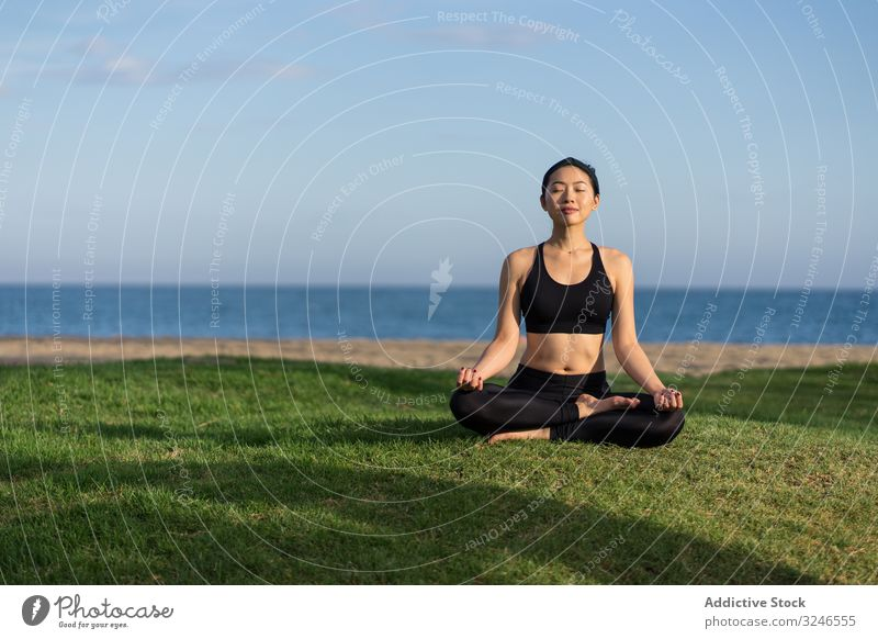 Woman meditating on the beach woman yoga practice grass green sea ocean female stand exercise balance training workout young athlete active calm tranquility