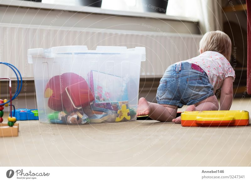 Baby playing alone with toys on a carpet on the floor at home Lifestyle Joy Happy Relaxation Leisure and hobbies Playing Living room Child Human being Toddler