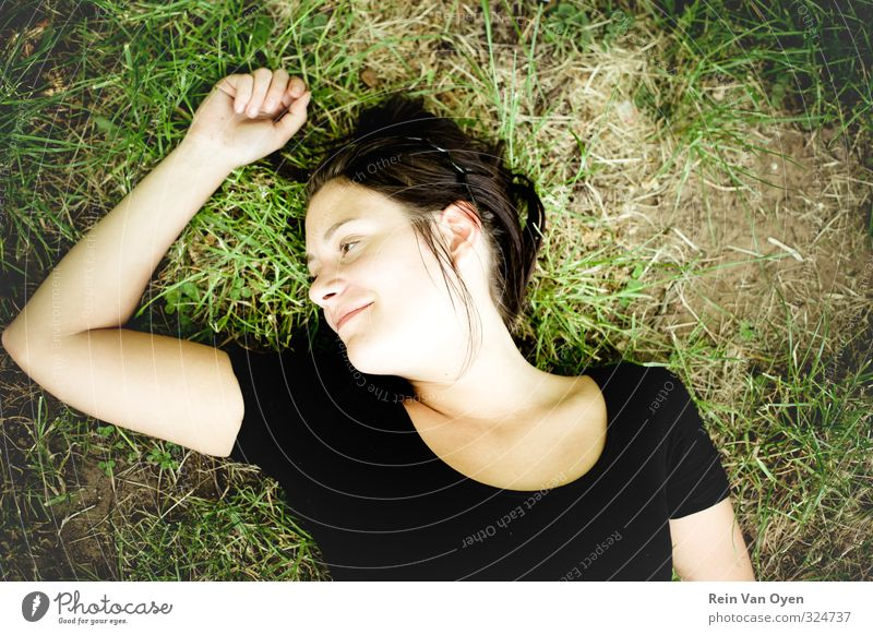 Summer vibe Human being Youth (Young adults) Green Relaxation Girl Young woman Adults 18 - 30 years Feminine Grass Laughter Smiling Happiness To enjoy