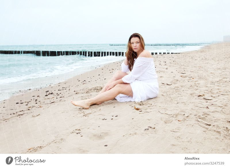 Young woman at the Baltic Sea beach Style Joy Beautiful Wellness Life Trip Youth (Young adults) Adults Legs 30 - 45 years Nature Landscape Sand Water