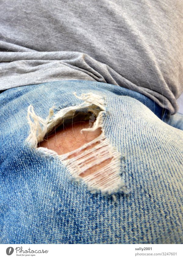 the hole in the pants... Masculine Man Adults Skin Fashion T-shirt Jeans Old Dirty Hip & trendy Broken Naked Rebellious Trashy Identity Destruction Hollow