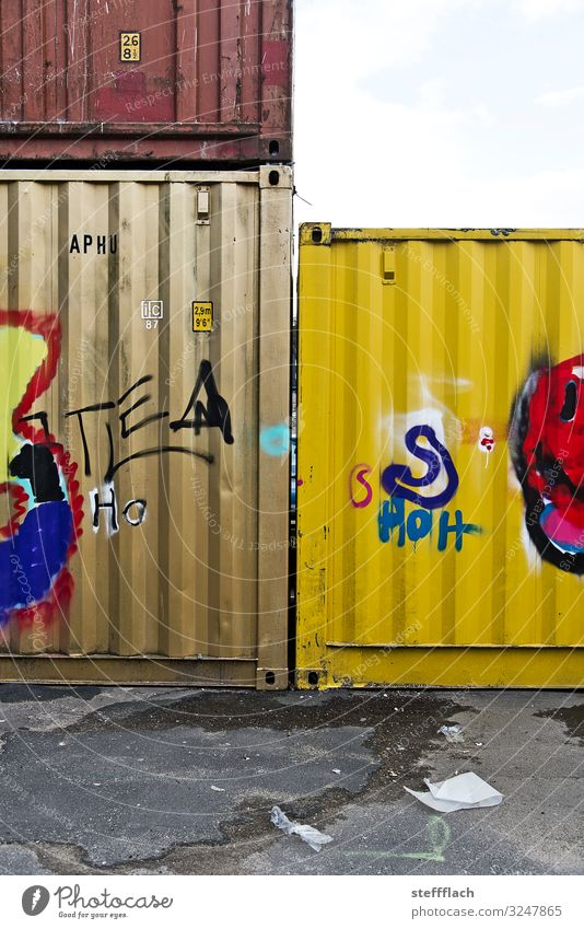 Container Love Logistics overseas Town Port City Parking lot Rush hour Truck Container ship Freight train Characters Graffiti Wait Sharp-edged Trashy Brown