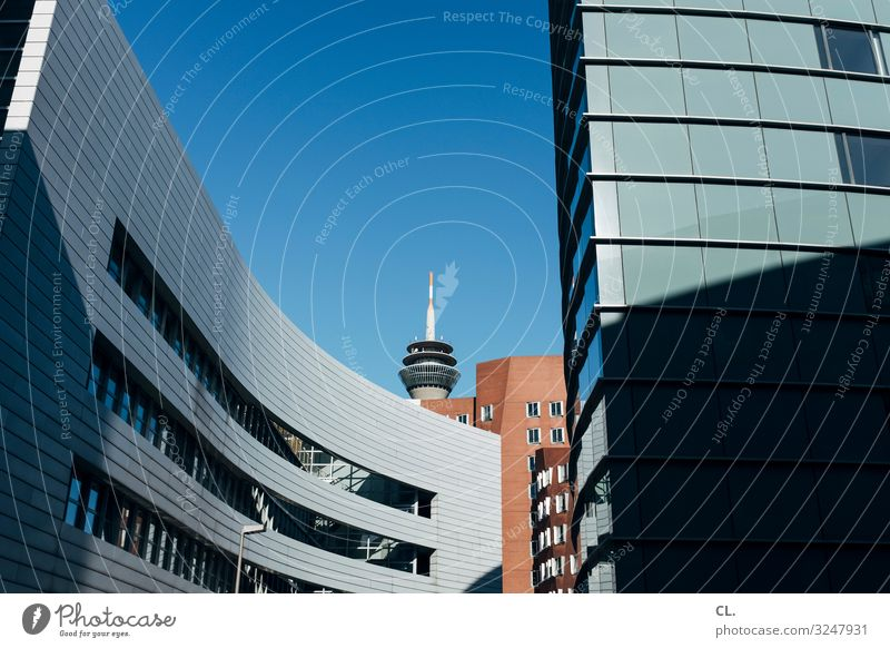 Media Port Düsseldorf City trip Office Economy Media industry Construction site Business Company Cloudless sky Beautiful weather Duesseldorf Germany Town