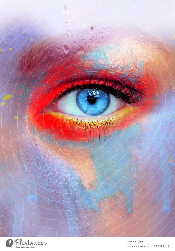 800 | skin colour colors variegated motley Red Orange Yellow Purple Blue Eyes Eye colour Colour colored colourfulness Multicoloured Abstract already Close-up