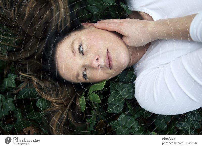 Portrait of a young woman in the forest on ivy Style Beautiful Well-being Relaxation Calm Trip Young woman Youth (Young adults) Adults Face 30 - 45 years Nature