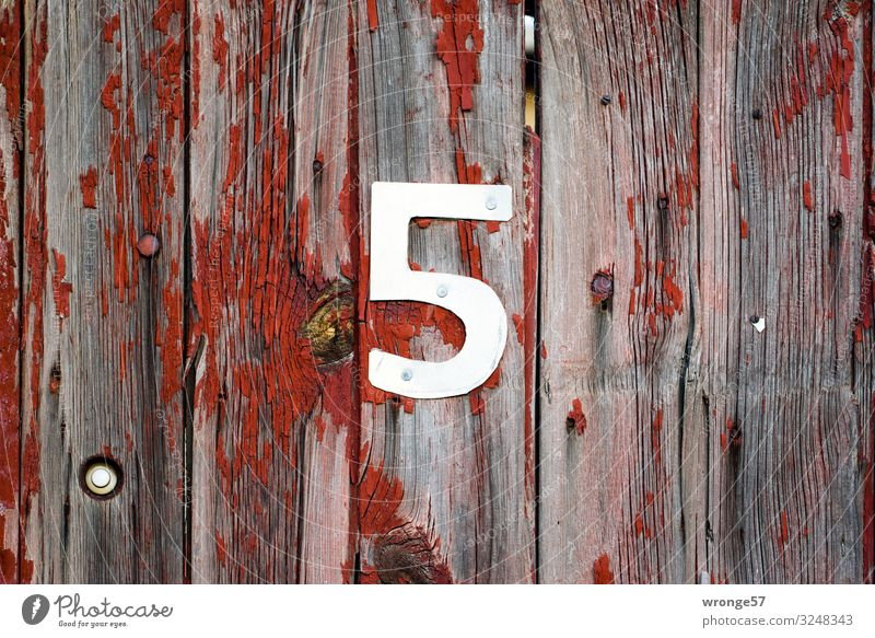 5 days until Christmas Eve Wood Metal Digits and numbers Gray Red Silver Door Wooden door House number Colour photo Subdued colour Exterior shot Close-up