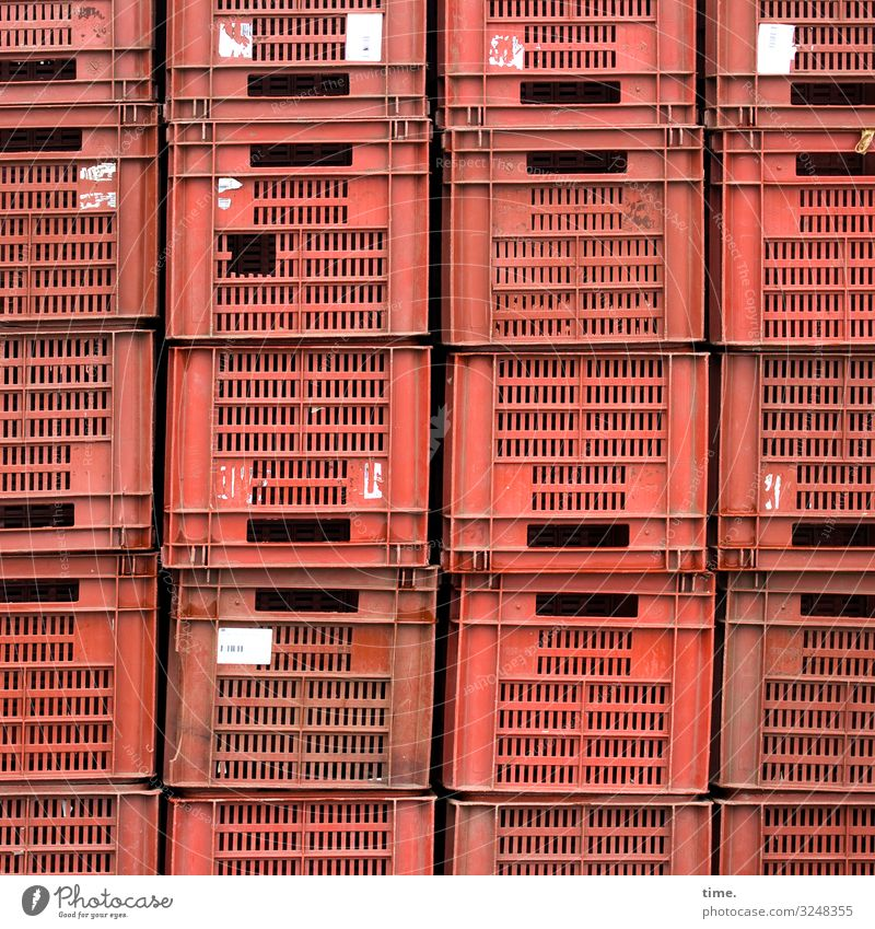 impostor | taken literally crates vegetable crates Markets Plastic staple goods stacked Red Label porous Slit Handle set