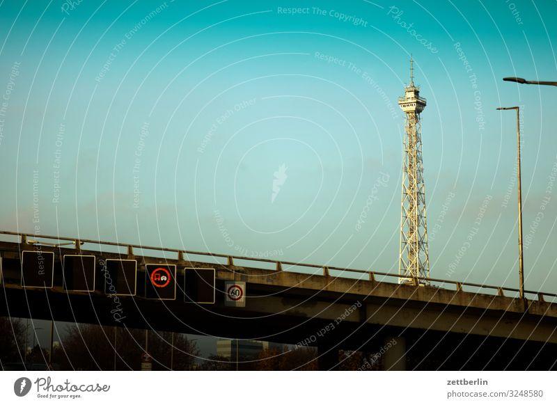 Radio tower in Berlin Haze Fog Autumn Deserted November Town Copy Space City life Tower Transmitting station Landmark Manmade structures Building Highway Bridge