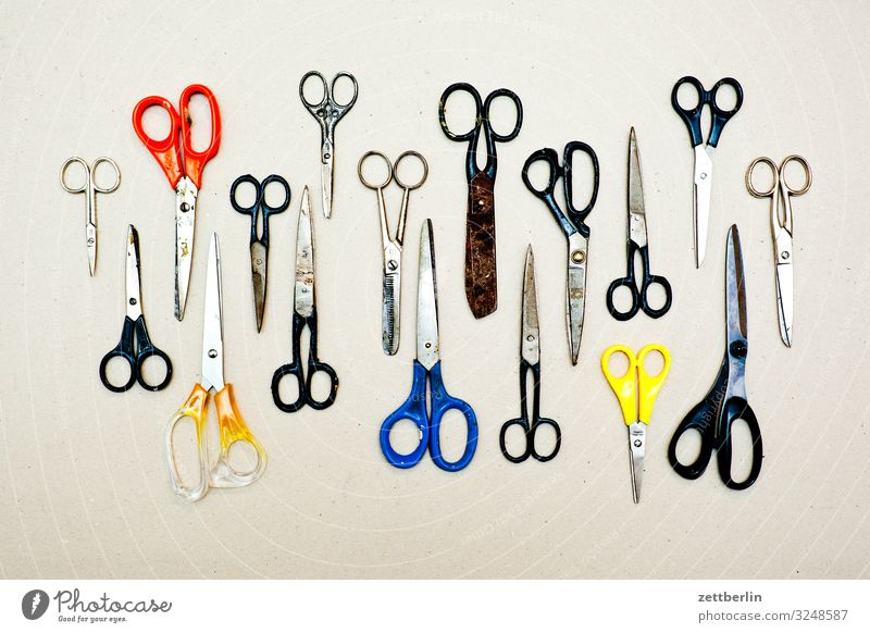17 Shears Selection Handicraft mass Crowd of people Scissors Tailoring Cut Cutting tool Desk Divide Many Tool Things Deserted Difference