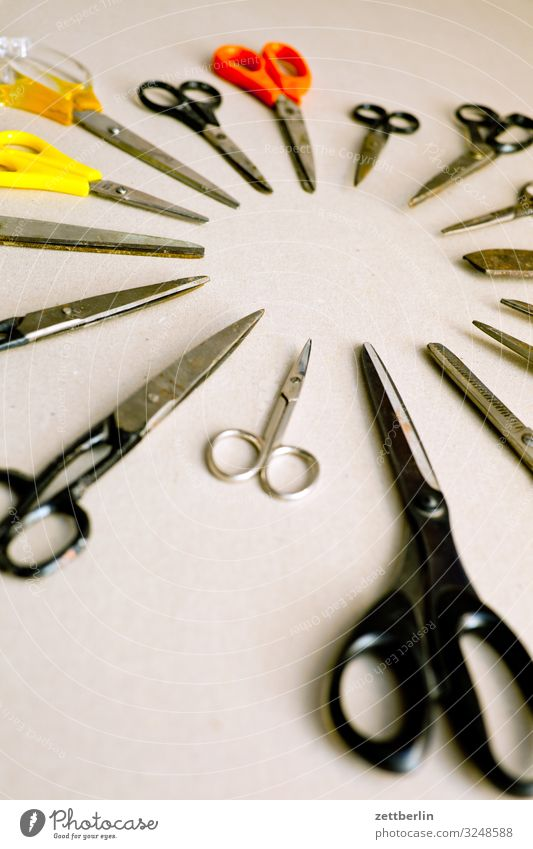 Scissors again Selection Handicraft mass Crowd of people Cut Cutting tool Desk Divide Many Tool Things Deserted Difference Circle Round Formation
