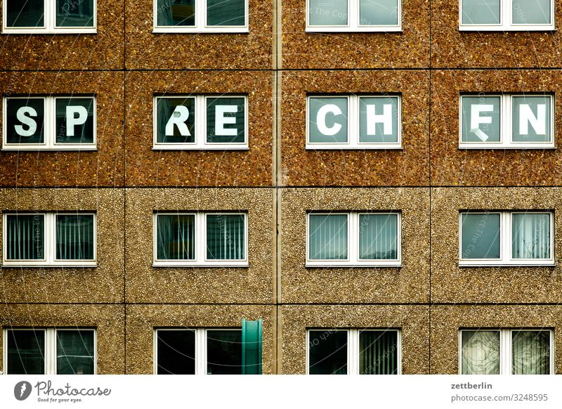 Town House (Residential Structure) Window To talk Berlin Building School Facade City life Living or residing Characters School building Letters (alphabet)